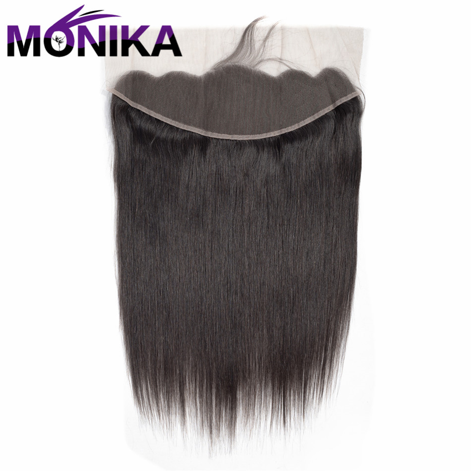 Monika Lace Frontal With Bundles Brazilian Straight Wave Human Hair Bundles With Closure 13x 4 Lace Frontal Non Remy Hair