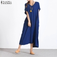 ZANZEA Women Dress 2018 Summer Sexy V Neck Casual Loose Cotton Long Maxi Dresses Ladies Buttons