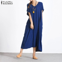 ZANZEA Women Dress 2017 Summer Sexy V Neck Casual Loose Cotton Long Maxi Dresses Ladies Buttons