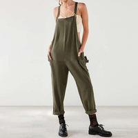 2017 Fashion Women Strappy Long Suspender Trousers Dungaree Overalls Casual Loose Military Harem Romper Jumpsuit Bib