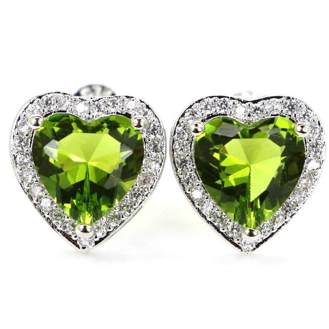 Romantic Heart Shape Green Peridot, White CZ Gift For Girls 925 Silver Stud Earrings 12x12mm