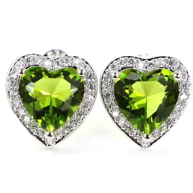 Romantic Heart Shape Green Peridot, White CZ Gift For Girls 925 Silver Stud Earrings 12x12mm