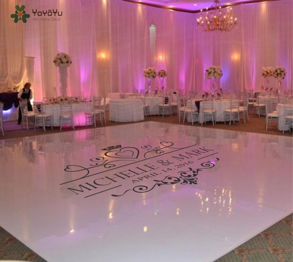 Vinyle Adhésif Pour Sol us $10.32 20% off|wedding dance floor decal vinyl sticker custom name &  date suit for wall window door floor art removable mural decoration ww