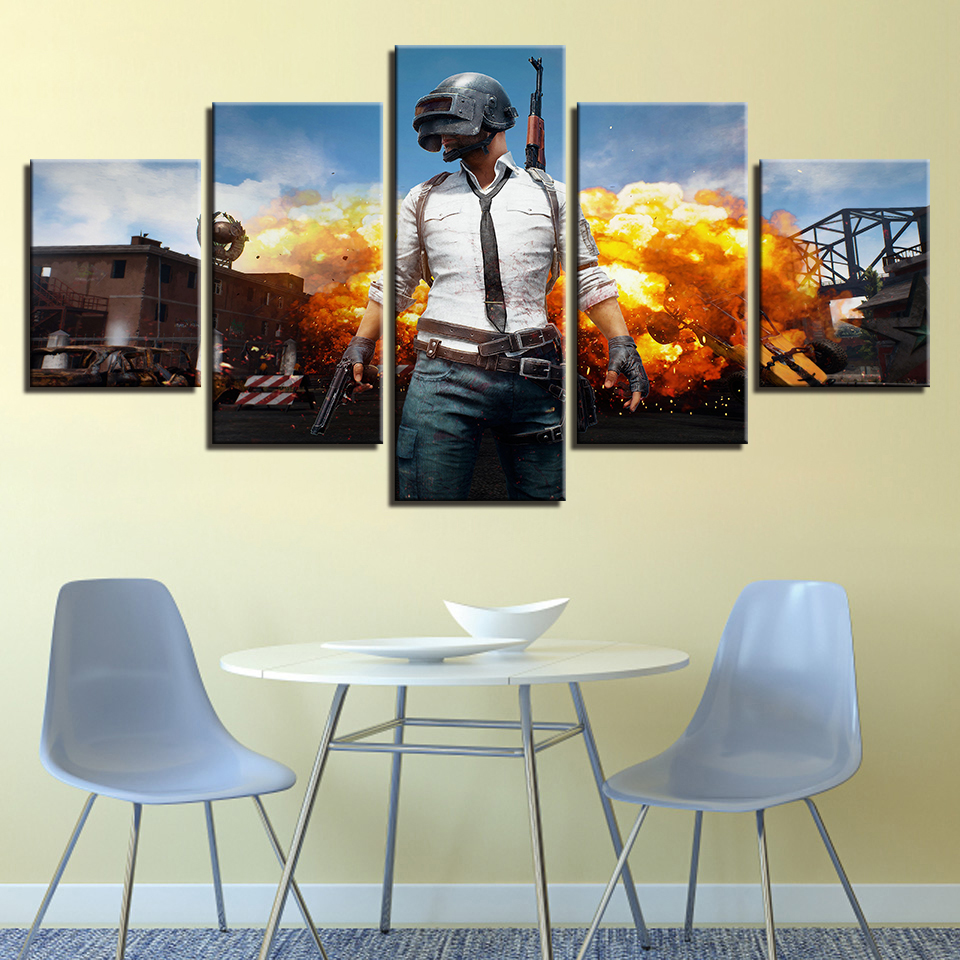 PUBG Hot Game Poster Jedi Survival Battle 5 Piece Canvas Painting Poster Print For Living Room Home Decoration No Frame Pictures 1