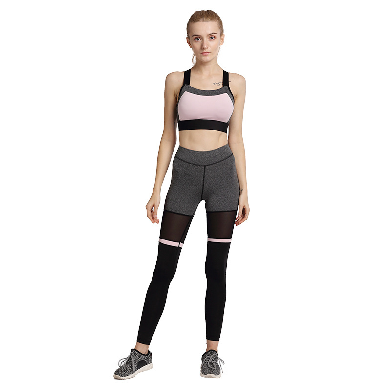 FRECICI New Women 2 Pieces Sports Bra+Sport Pants Set Cross Back Yoga Bra and Yoga Pants Set Fitness Running Workout Outfits