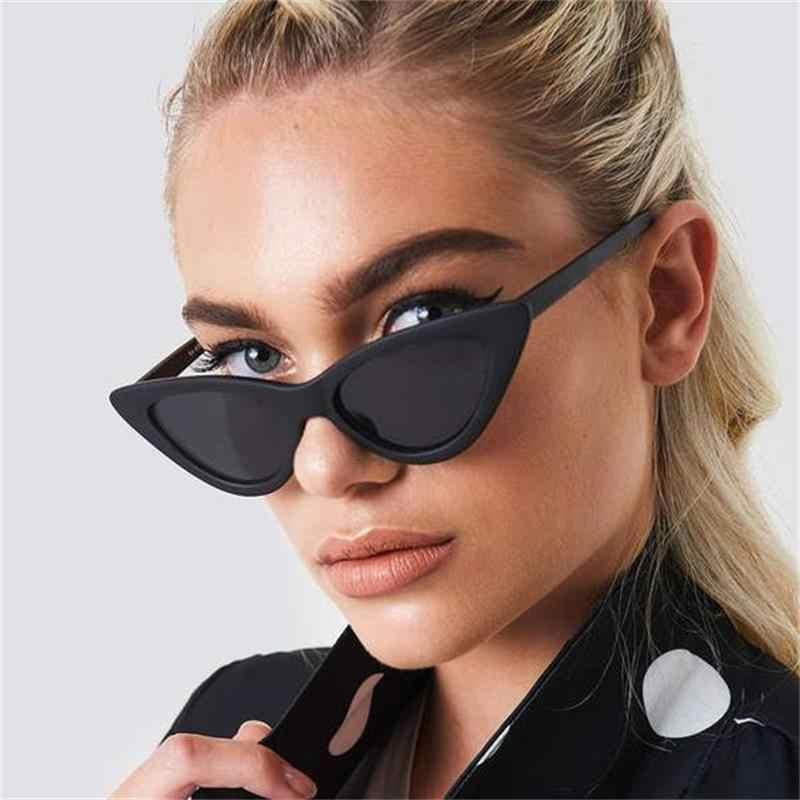 Gafas de sol de estilo Vintage de los 90 para mujer, anteojos de sol femeninos de estilo triangular puntiagudos, gafas de sol tipo ojo de gato, de marca de diseñador Gafas de sol