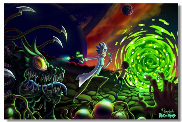 Custom Canvas Wall Decor Rick & Morty Poster Rick And Morty Sticker Wallpaper Anime Office ...