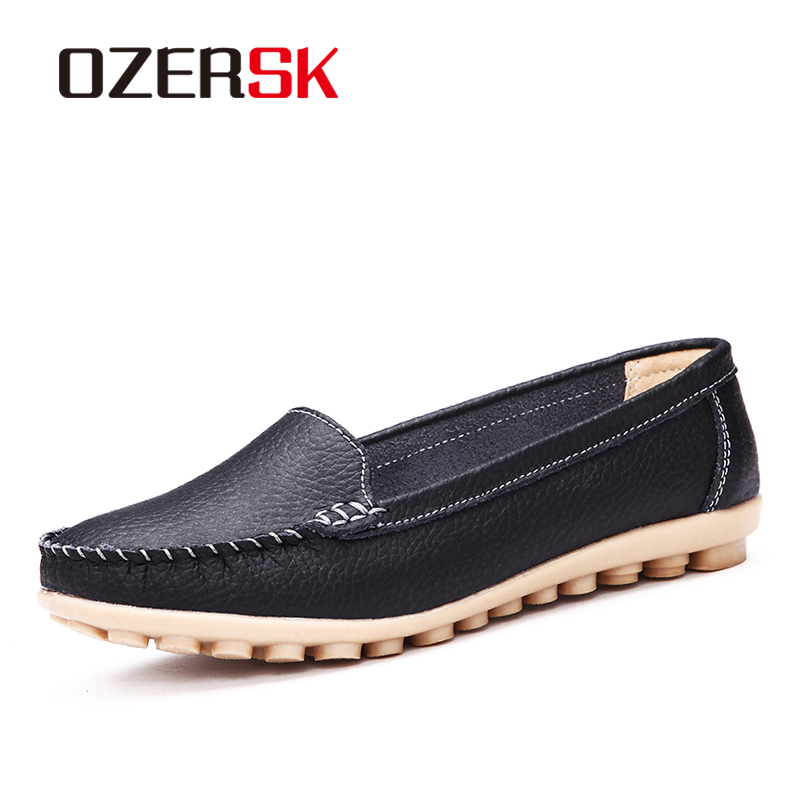 Casual Shoes Women Soft Genuine Leather Women's Loafers Slip On Woman's Flats Shoes Low Heel Moccasins Footwear Large Size 35-41 new style comfortable casual shoes men genuine leather shoes non slip flats handmade oxfords soft loafers luxury brand moccasins