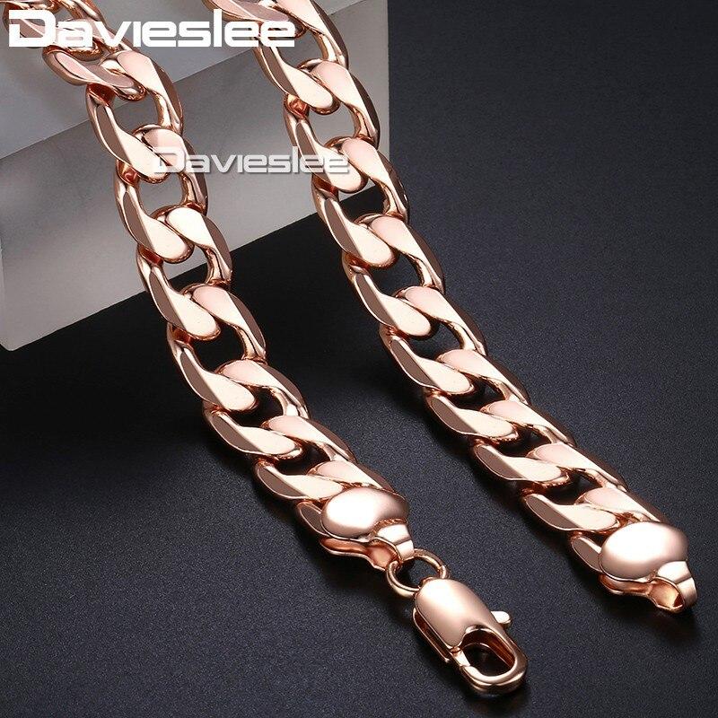 Hommes de Collier En Or Curb Chain Cuban Link 585 Rose Gold Filled Bijoux pour Hommes 12mm DLGN321