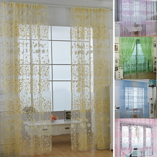 1Pc Pastoral Flower Voile Room Divider Door Valance Window Curtain Sheer Drape