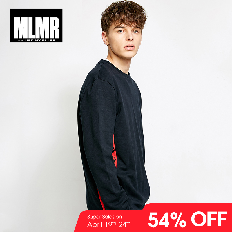 MLMR Men's Cotton Letter Printed   T  -  shirt   Solid Color Long Sleeve Leisure   T     shirt   Tshirt 2019 JackJones New Autumn Mens 218302504
