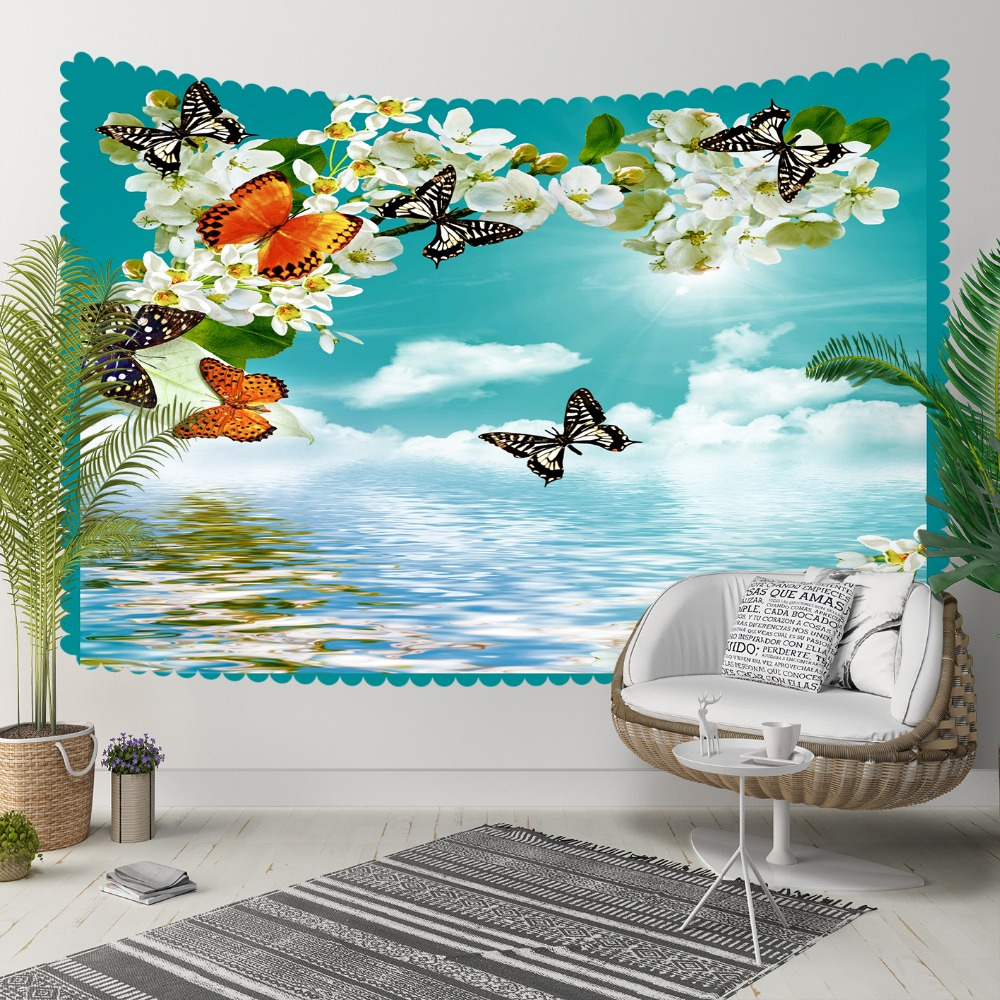 Else Blue Sky White Clouds Butterfly Flowers Floral 3D Print Decorative Hippi Bohemian Wall Hanging Landscape Tapestry Wall Art