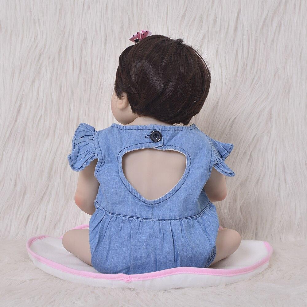 Image 4 - KEIUMI 23 Inch Full Body Silicone Reborn Baby Dolls Kid Playmates  Realistic 57cm Princess Doll Denim jumpsuit Reborn Boneca GiftDolls