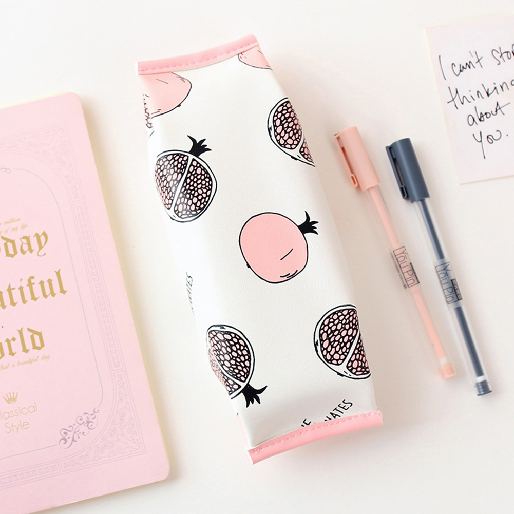 School Supplies Cartoon Fruit Canvas Faux Leather Pencil Case Makeup Bag Pouch big capacity high quality canvas shark double layers pen pencil holder makeup case bag for school student with combination coded lock
