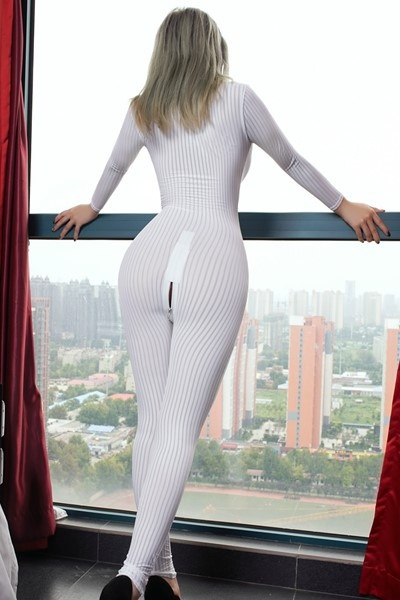Dame Black Striped Sheer Bodysuit Smooth Fiber 2 Zipper Long Sleeve Jumpsuit 2