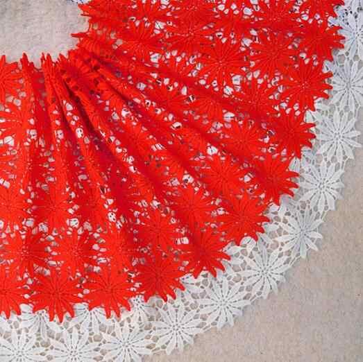 2 metri Nigeriano Tessuti di Pizzo Francese 2018 Rosso Africano Tessuto di Pizzo Bianco di Alta Qualità Solubile In Acqua Lace Trim Da Sposa Per vestito