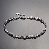 다이아몬드 팔찌 여성 18 센치메터 18 천개 화이트 골드 0.03ct/45 개 다이아몬드 보석 럭셔리 웨딩 팔찌 패션 디자