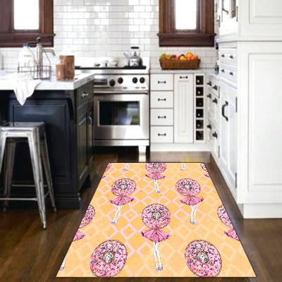 Else Orange Floor White Pink Sweet Candy Girls 3d Print Non Slip Microfiber Kitchen Modern Decorative Washable Area Rug Mat