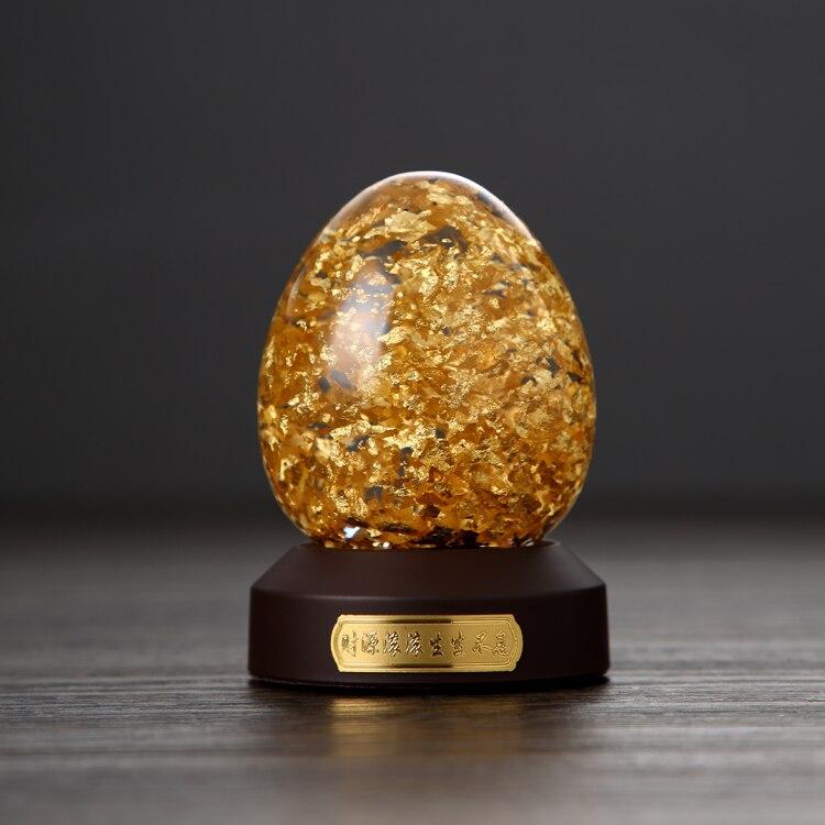 24 K Oro Fiocchi di Forma di Uovo Globo di Neve Fortunato Uovo D'oro Con Scatola Regalo Arredamento Best Regalo Taiwan Fatto - 3