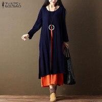ZANZEA Women Plus Size 2017 Fashion Patchwork Split Ankle Length Long Dress Fashion Autumn Full Sleeve Vintage Tunic Vestido