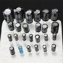 1 uF 2200 uF 25 V/50 V 25Valuesx5Pcs toplam 125 adet elektrolitik kapasitörler çeşitler kiti çeşitli Set