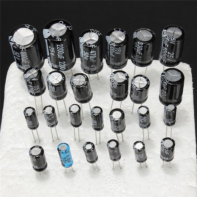 1uF-2200uF 25V/50V 25Valuesx5Pcs Total 125 Pcs Electrolytic Capacitors Assortment Kit Assorted Set