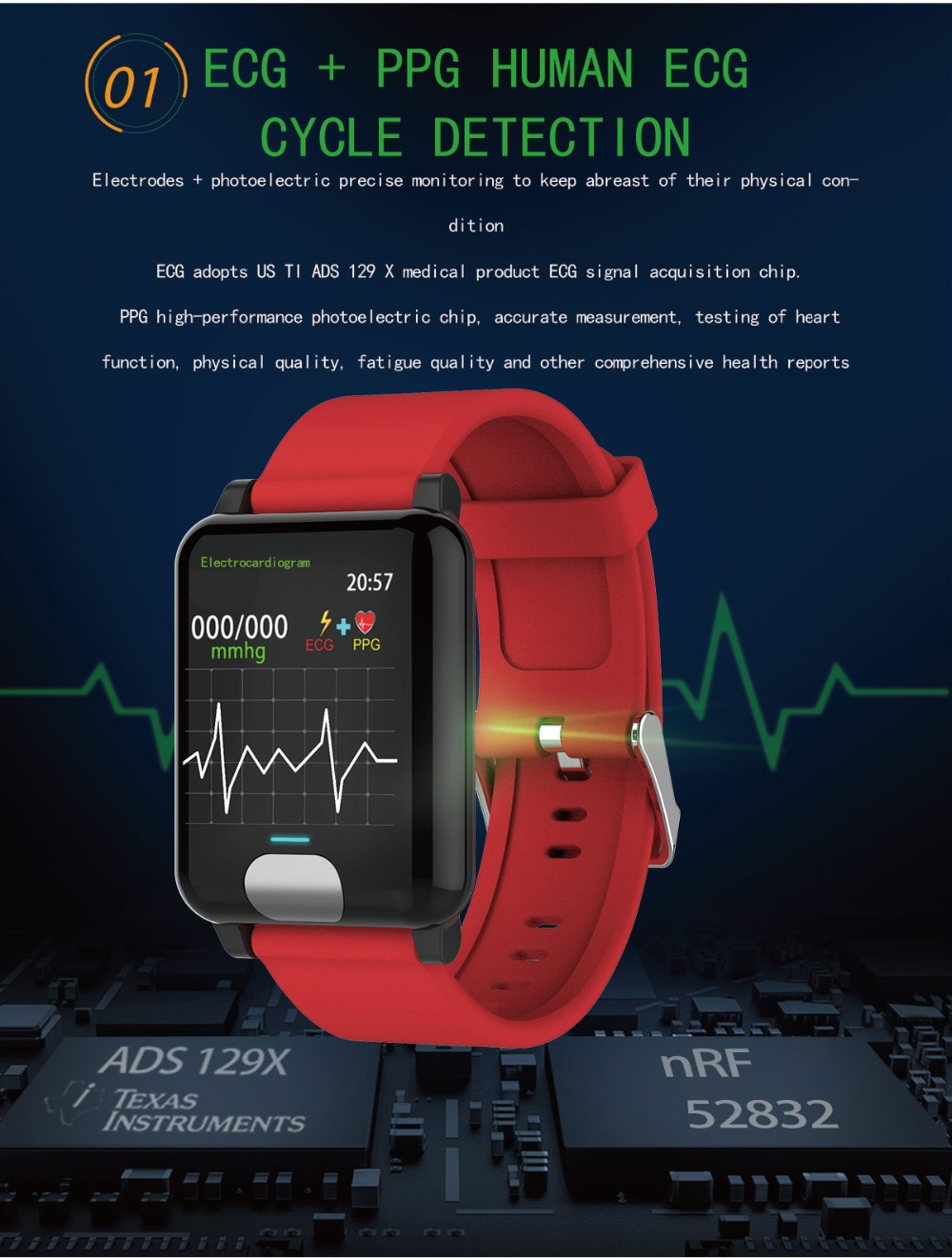 I-SWIM E04 Smart Band Fitness Tracker ECG/PPG Blood Pressure Heart Rate Monitor Waterproof Smart Watch for Xiaomi Android IOS 3