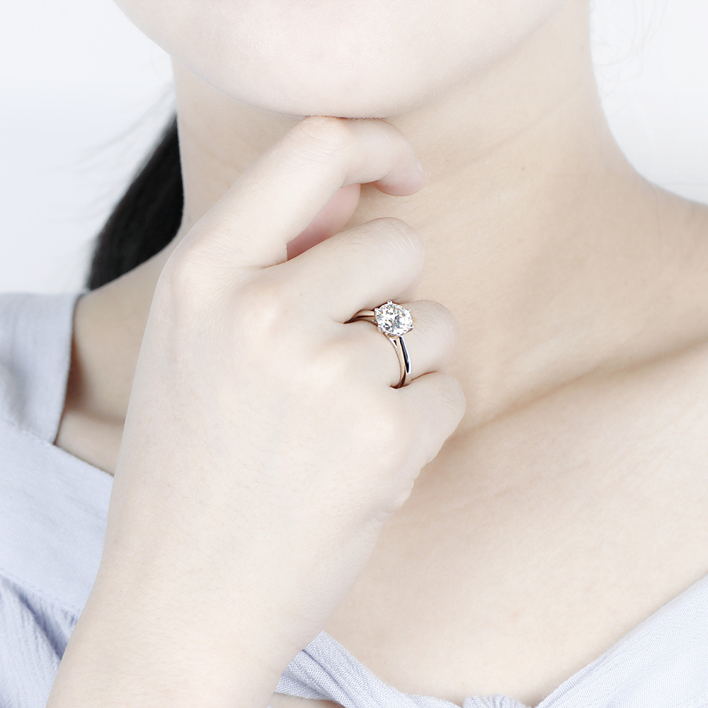 Image 5 - Transgems 14K 585 White Gold  Moissanite Diamond Engagement Ring for Women Fine Jewelry Center 2ct F Color Moissanite Ring-in Rings from Jewelry & Accessories