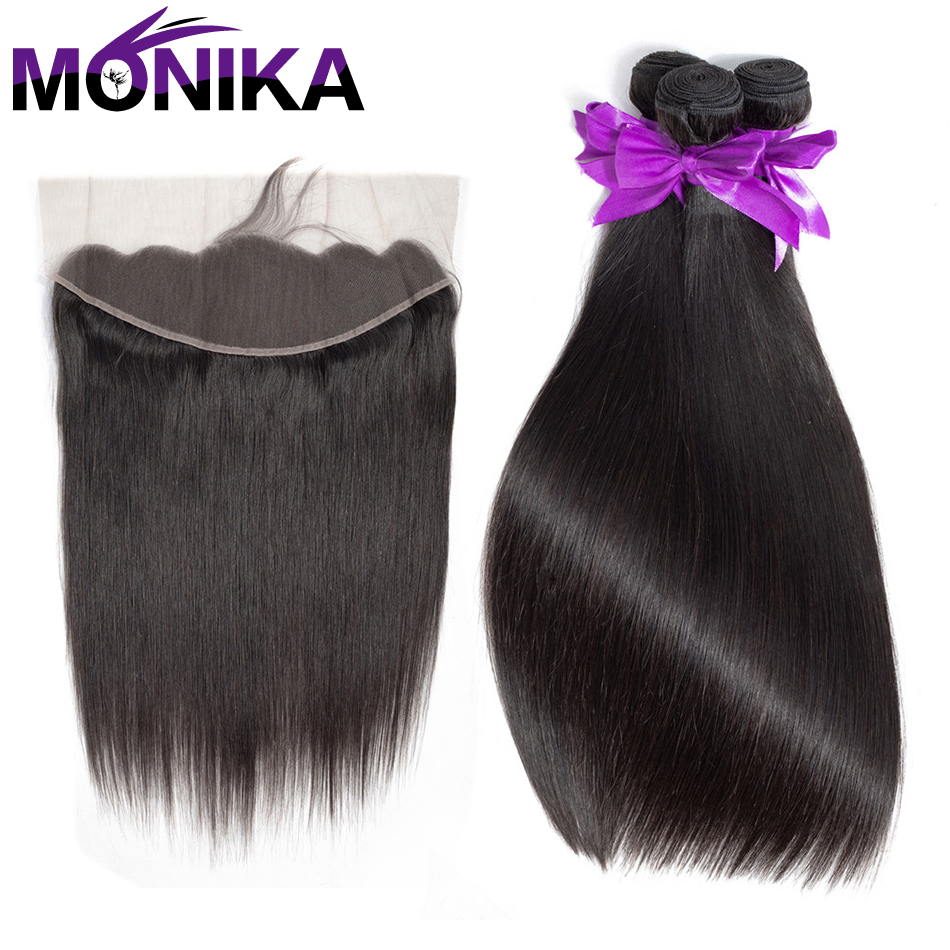 Monika Hair Ear To Ear Lace Frontal Closure With 3 Bundles Peruvian Straight Wave Human Hair Weave With Closure Non Remy Hair