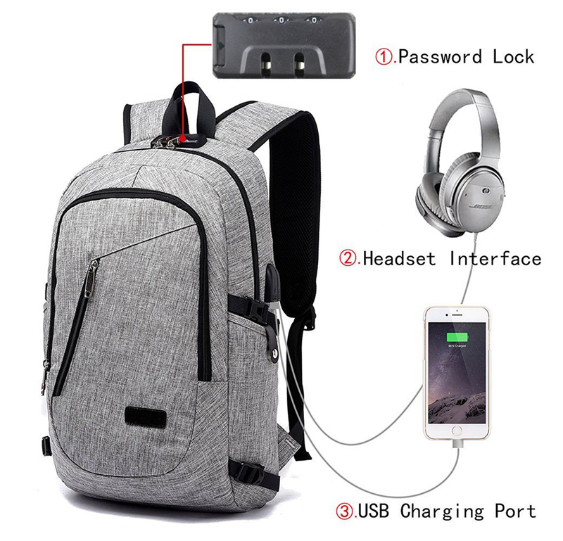 Anti Theft Business Laptop Backpack with USB Charging Headphones Port For Men Women Fits Under 16-Inch Laptop Anti Theft Business Laptop Backpack with USB Charging Headphones Port For Men Women Fits Under 16-Inch Laptop