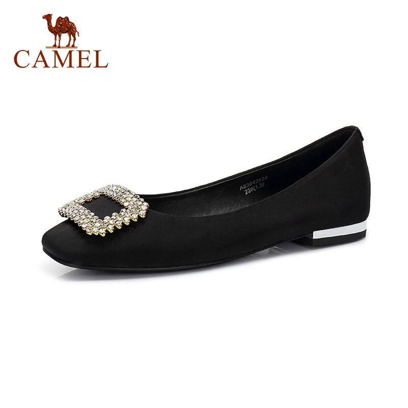CAMEL Women New Elegant Single Shoes Women   Suede     Leather   Low Flats Mary Jeans Shoes For Ladies Soild Soft Comfort Point Toe