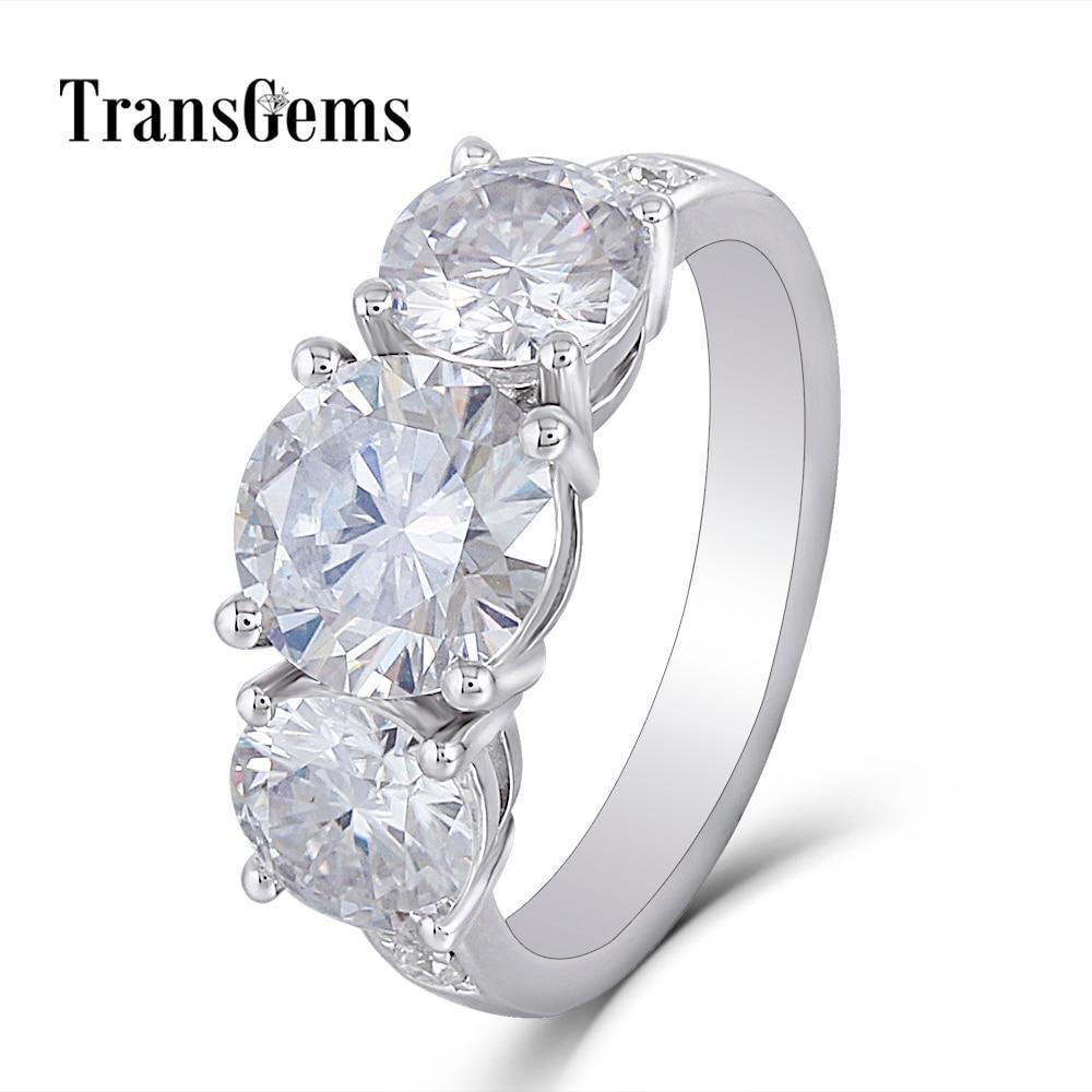 moissanite 3 stone emgagement ring (1