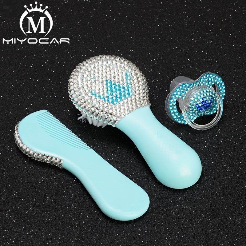MIYOCAR Beautiful Set Of Safe Good Quality Blue Baby Comb And Bling Blue White Crown Baby Pacifier Ideal Gift For Baby Shower
