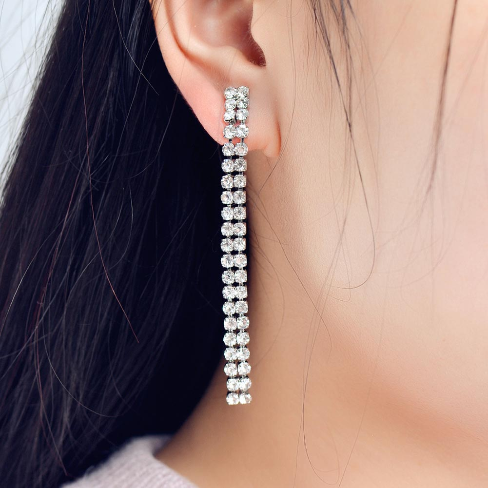 2018 New Fashion Women Geometric One Word Design rhinestone Long Tassel Dangle Earring Drop Brincos Jewelry Ear Accessory