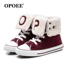 Children Boots 2017 New Girls Boys Canvas Shoes Style Non-slip Snow Kids Winter Booties Size 27-36