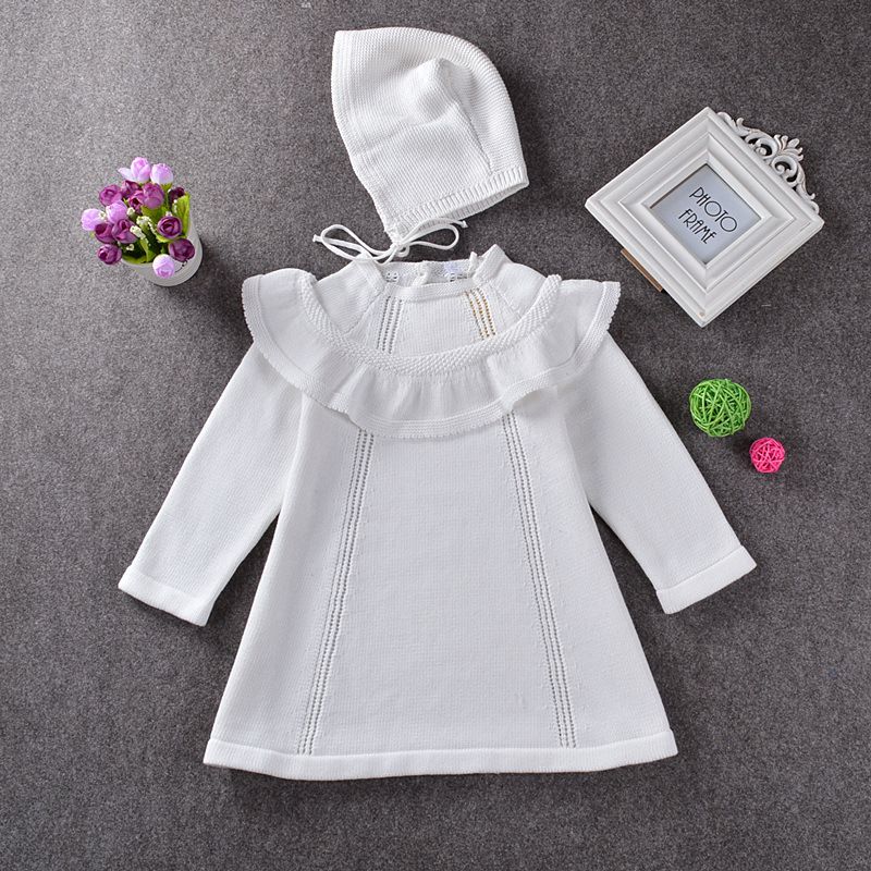 Girl Princess Sweater Dress 2018 Spring Autumn Knitted White Baby