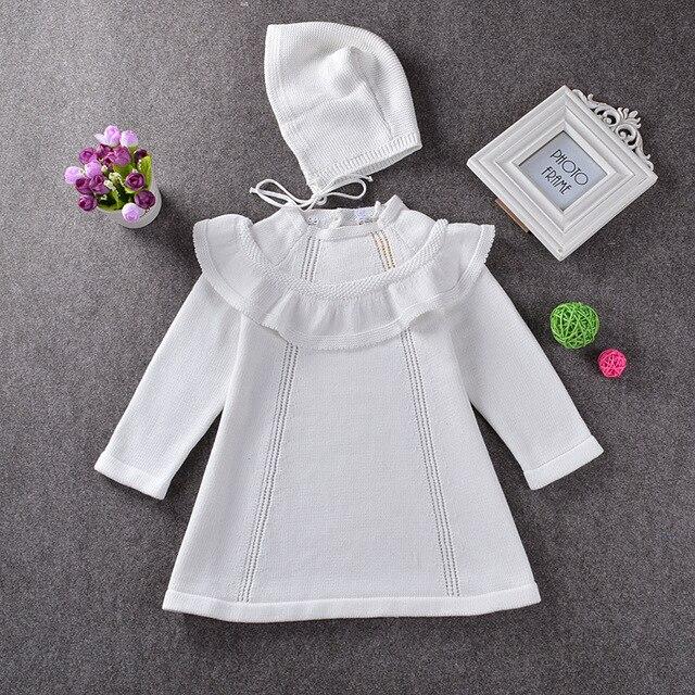 e394c90d275 Girl Princess Sweater Dress 2018 Spring Autumn Knitted White Baby Dress  Kids Knee-Length Dress For Infant Girl dress WUA7091403