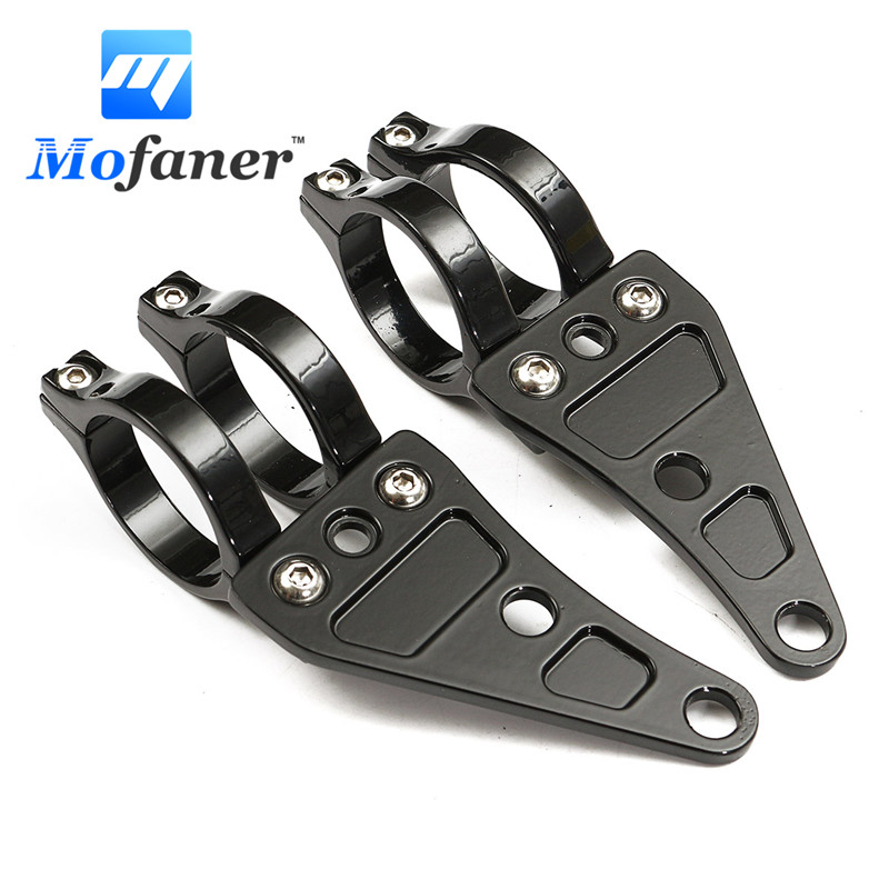 1 Pair Black 41mm Motorcycle HeadLight Mount Bracket Fork Aluminum For Chopper /Cafe /Racer купить недорого в Москве