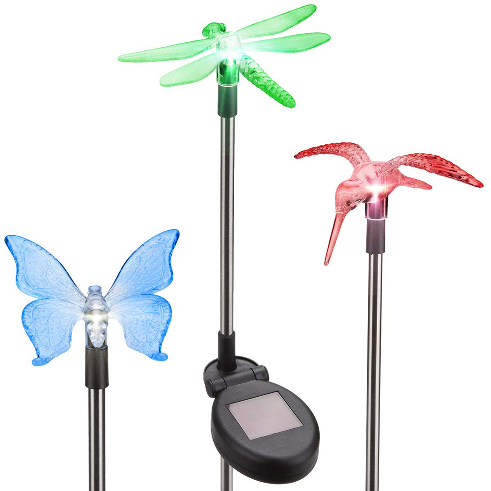 3pcs Garden Solar Lights Outdoor Solar Stake Lights Changing LED Butterfly Dragonfly Bird Decorative Lights For Path Yard Lawn