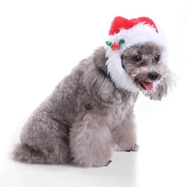 97f1e39db7bcb TINGHAO Adorables Para Mascotas Cachorro Gato Sombrero de la Navidad de  Santa Barba Cap Vestir Traje