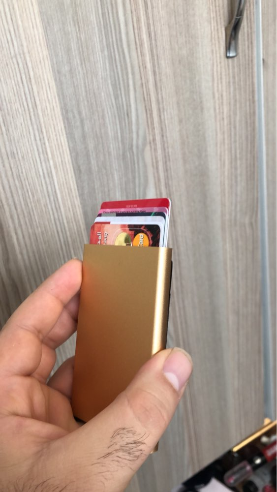 BONAMIE Aluminum Wallet With Elasticity Back Pouch ID Credit Card Holder RFID Mini Slim Wallet Automatic Pop up Credit Card Case photo review