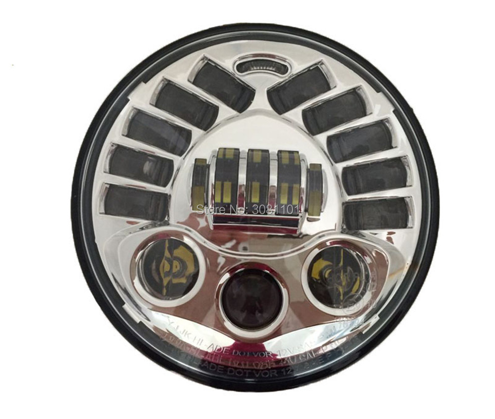 1PC 7 Chrome headlight New Type LED Hi-Lo Harley Motorcycle Headlight Daymaker DRL for 2007-2014 Jeep Wrangler JK 2 Door etc. автоинструменты new design autocom cdp 2014 2 3in1 led ds150
