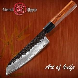 Image 1 - Santoku bıçak el dövme 7 inç 3 katmanlar japon AUS10 yüksek karbonlu paslanmaz çelik şef mutfak pişirme araçları eko dostu