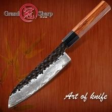 Santokumes Hand Gesmeed 7 Inch 3 Lagen Japanse AUS10 High Carbon Rvs Chef S Kitchen Koken Gereedschap Eco vriendelijke