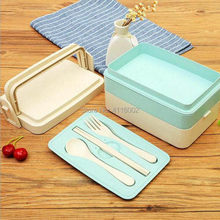 10pcs Wheat Straw Multifunctional Preservation Lunch Boxs Containers With Compartments Bento Box For Kids Picnic Food Container(China)