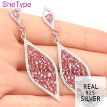 9.93g Long Pink Tourmaline White CZ Gift For Woman's Real 925 Solid Sterling Silver Earrings 67x18mm