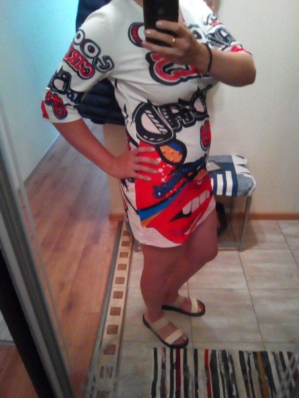 Plus Size T Shirt Dress Women Funny Print Summer Dresses Cartoon Hip Hop Lip Letters Mini Dress Club Party Vestidos Robe photo review