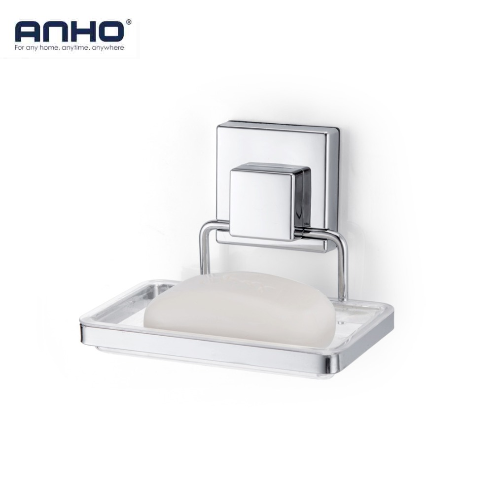 ANHO Suction Cup Soap Dish Holder Shower Bathroom Kitchen Wall Mounted Soap Basket Box Square Sucker Strong Iron Accessories