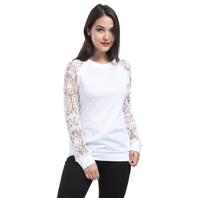 50a770ebeb7 2018 Summer Women Top Long Sleeve Elegant White Lace Blouse Femme Hollow  Out Ladies Office Shirt Blusas Mujer Real Pic