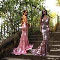 Vestido Longo/длинные вечерние платья с длинным шлейфом, расшитые блестками, торжественное платье для свадебной вечеринки, 2019 платья для выпускно